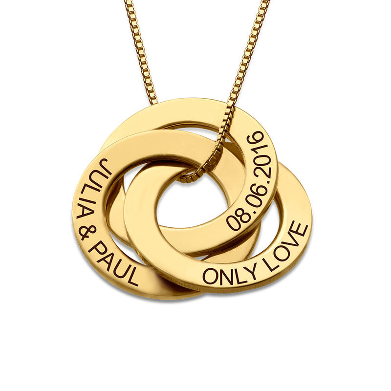 Russisk ring-halskæde med indgravering - Guldbelagt sølv - 1