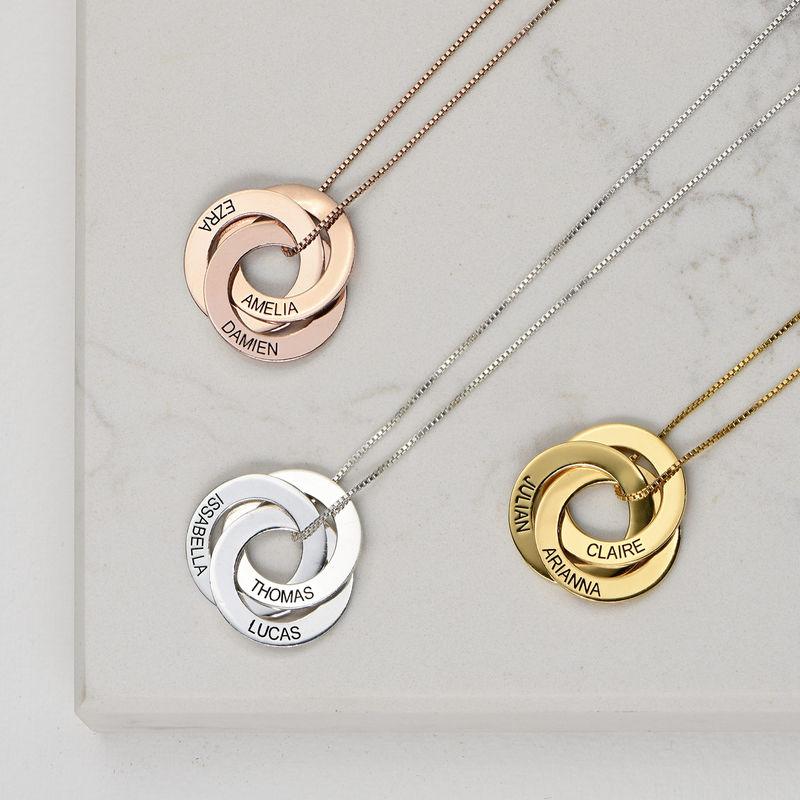 Russisk ring-halskæde med indgravering - Guldbelagt sølv - 2
