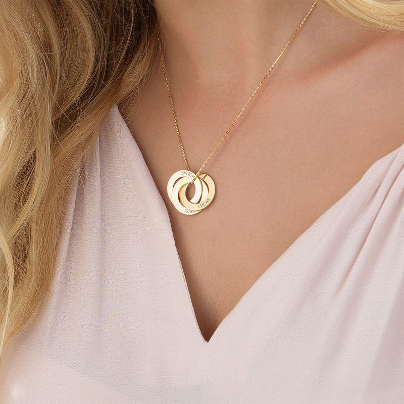 Russisk ring-halskæde med indgravering - Guldbelagt sølv - 4