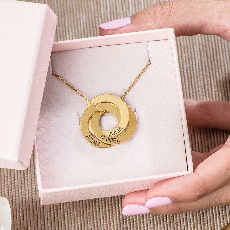 Russisk ring-halskæde med indgravering - Guldbelagt sølv - 5