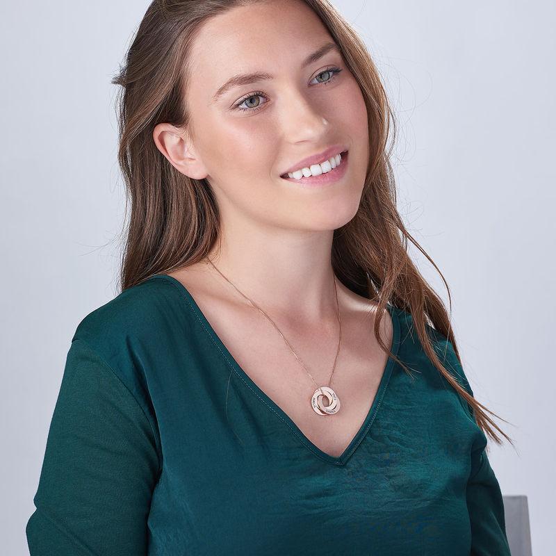 Russisk ring-halskæde med indgravering - rosaforgyldt - 3