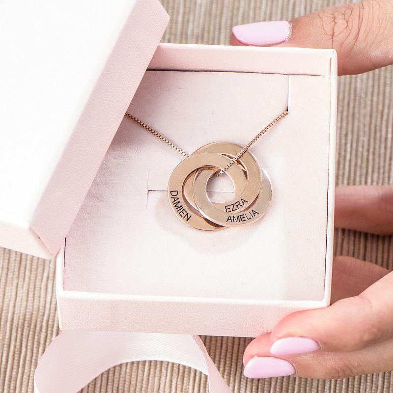 Russisk ring-halskæde med indgravering - rosaforgyldt - 5