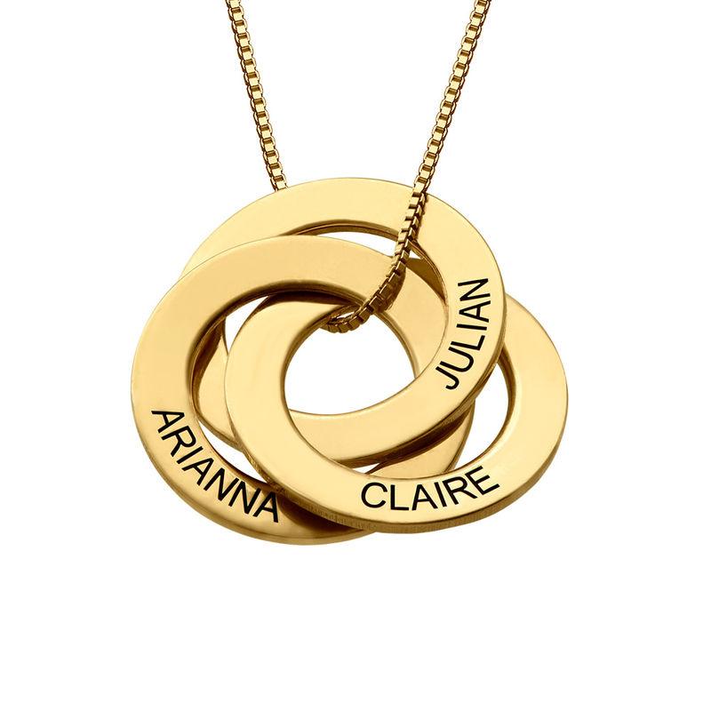 Russisk ring-halskæde med indgravering i guld vermeil
