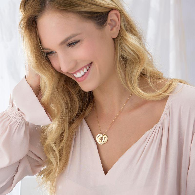 Russisk ring-halskæde med indgravering i guld vermeil - 3