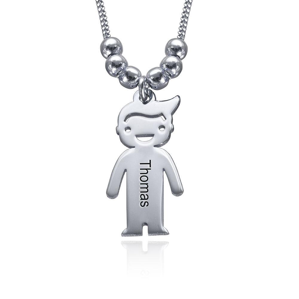 Mors halskæde med graverede børne-charms i sølv - 2