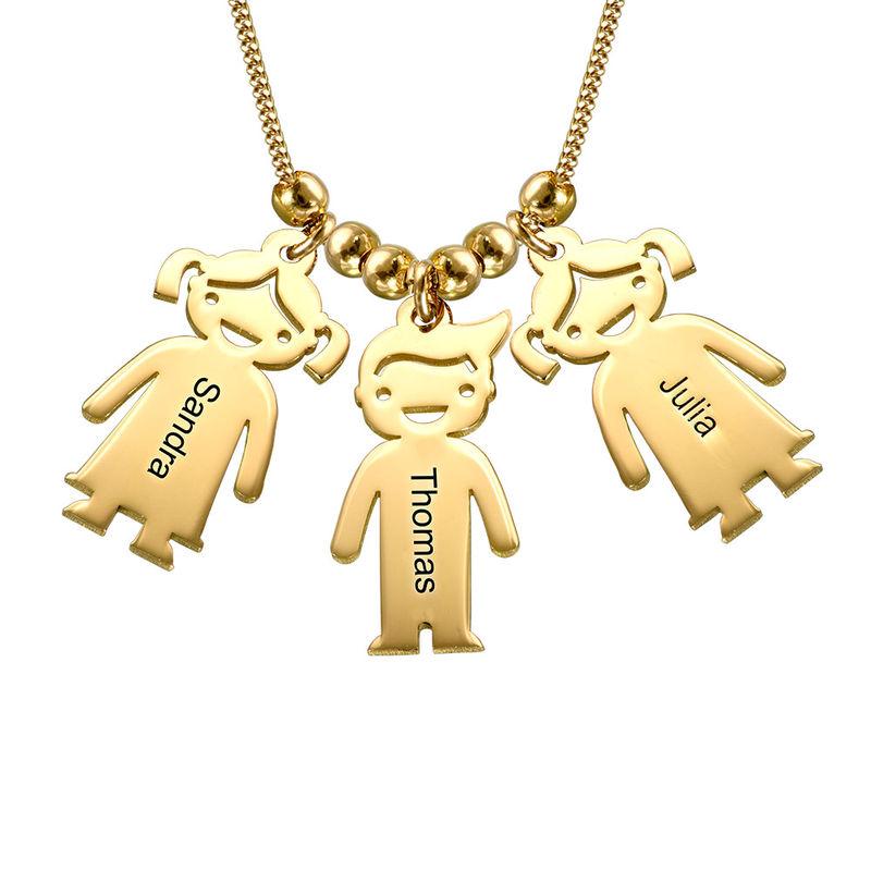 Mors halskæde med graverede børne-charms i guld vermeil - 1