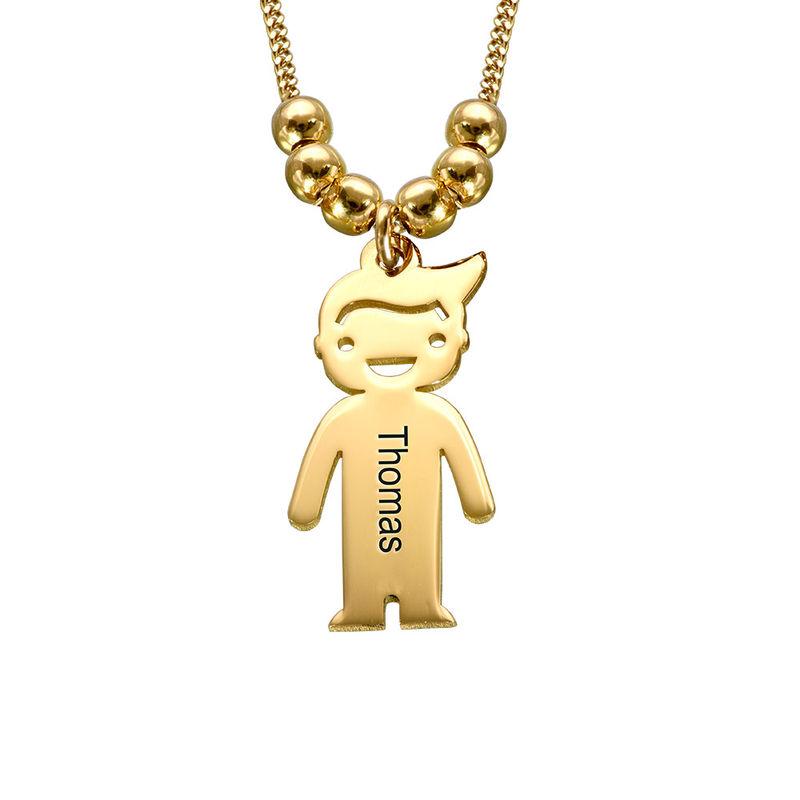 Mors halskæde med graverede børne-charms i guld vermeil - 2