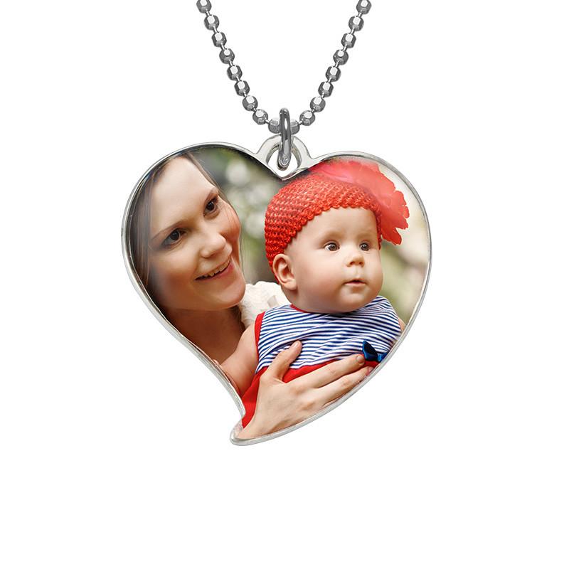 Hjerteformet foto halskæde i sterlingsølv - 1
