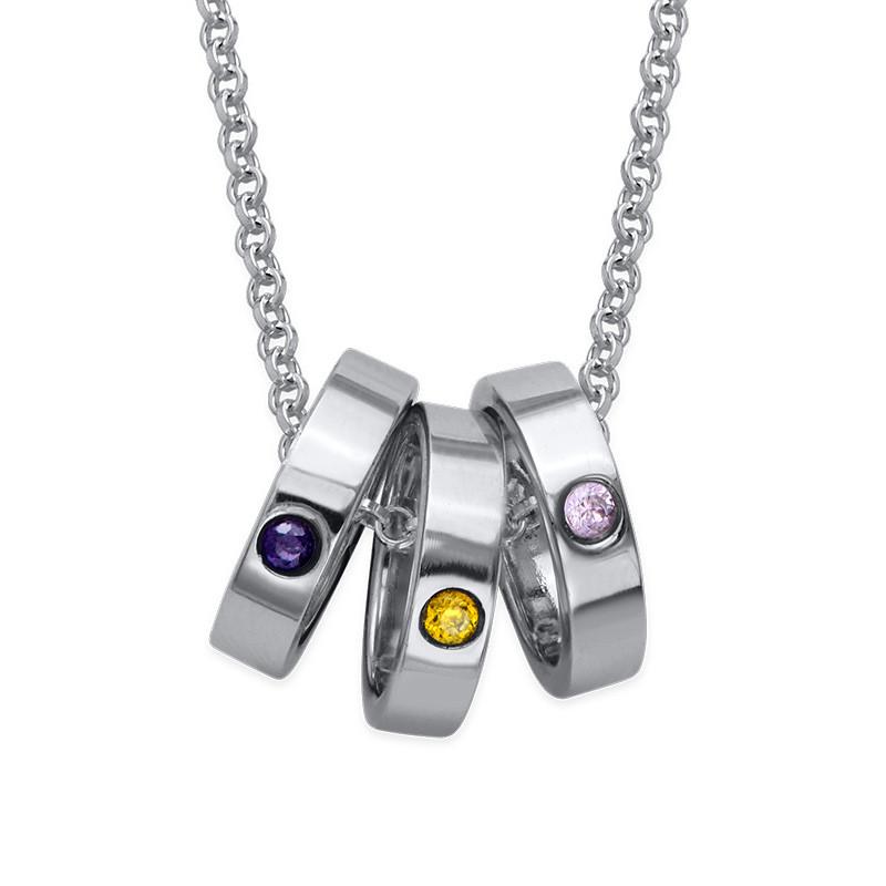 Mor halskæde med ringe og fødselssten i sølv