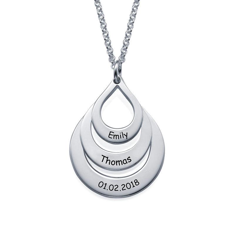 Familie halskæde med gravering og tre dråber i sølv - 2