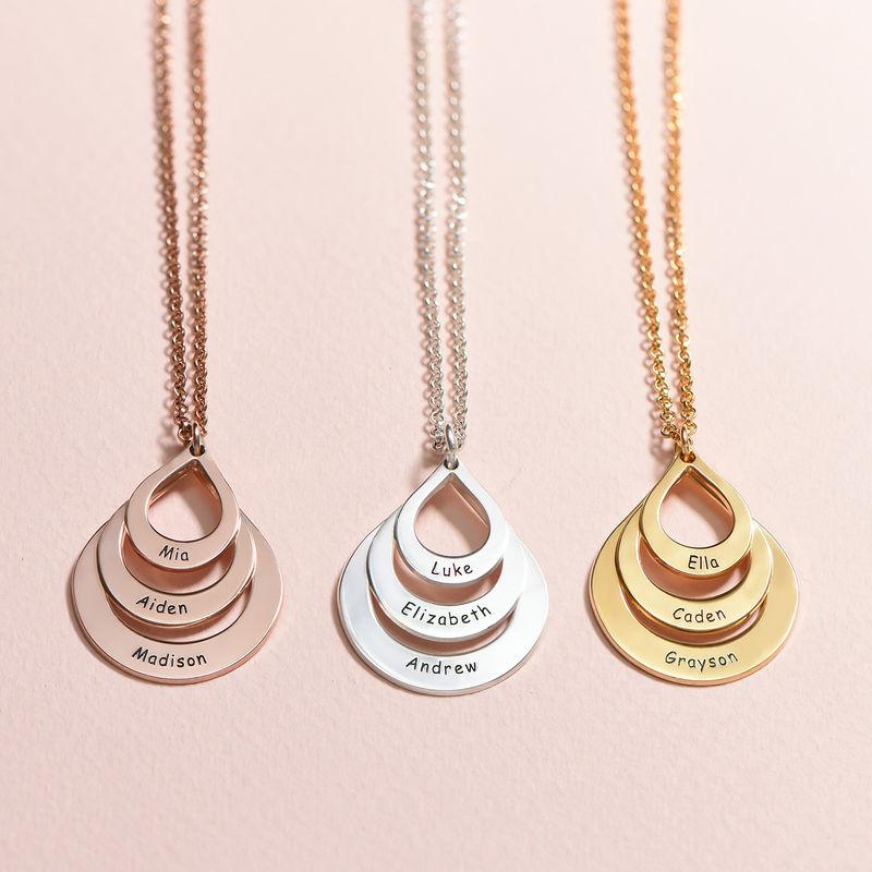 Familie halskæde med gravering og tre dråber i sølv - 3