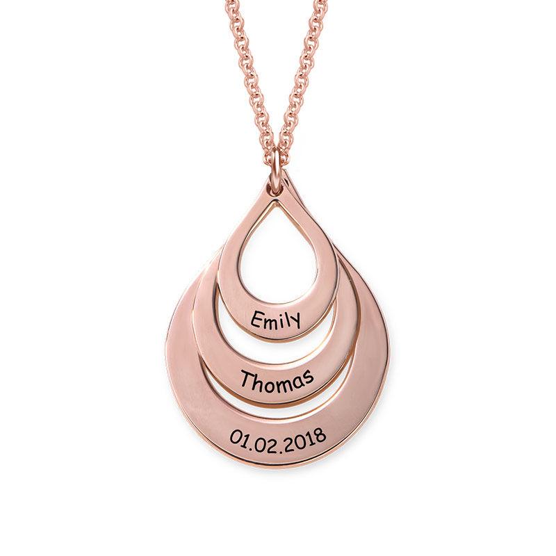 Familie halskæde med gravering og tre dråber i rosaforgyldt sølv - 2