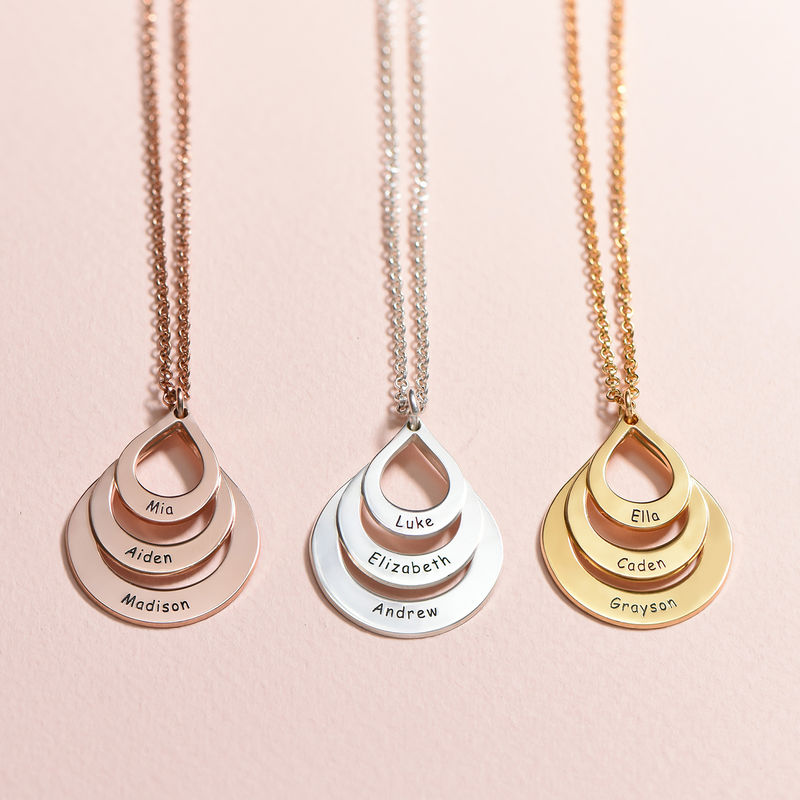 Familie halskæde med gravering og tre dråber i rosaforgyldt sølv - 3