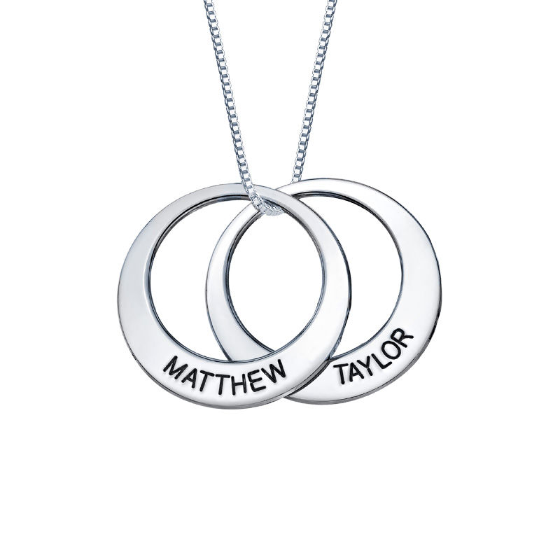 Mor halskæde med cirkel vedhæng i sølv - 2