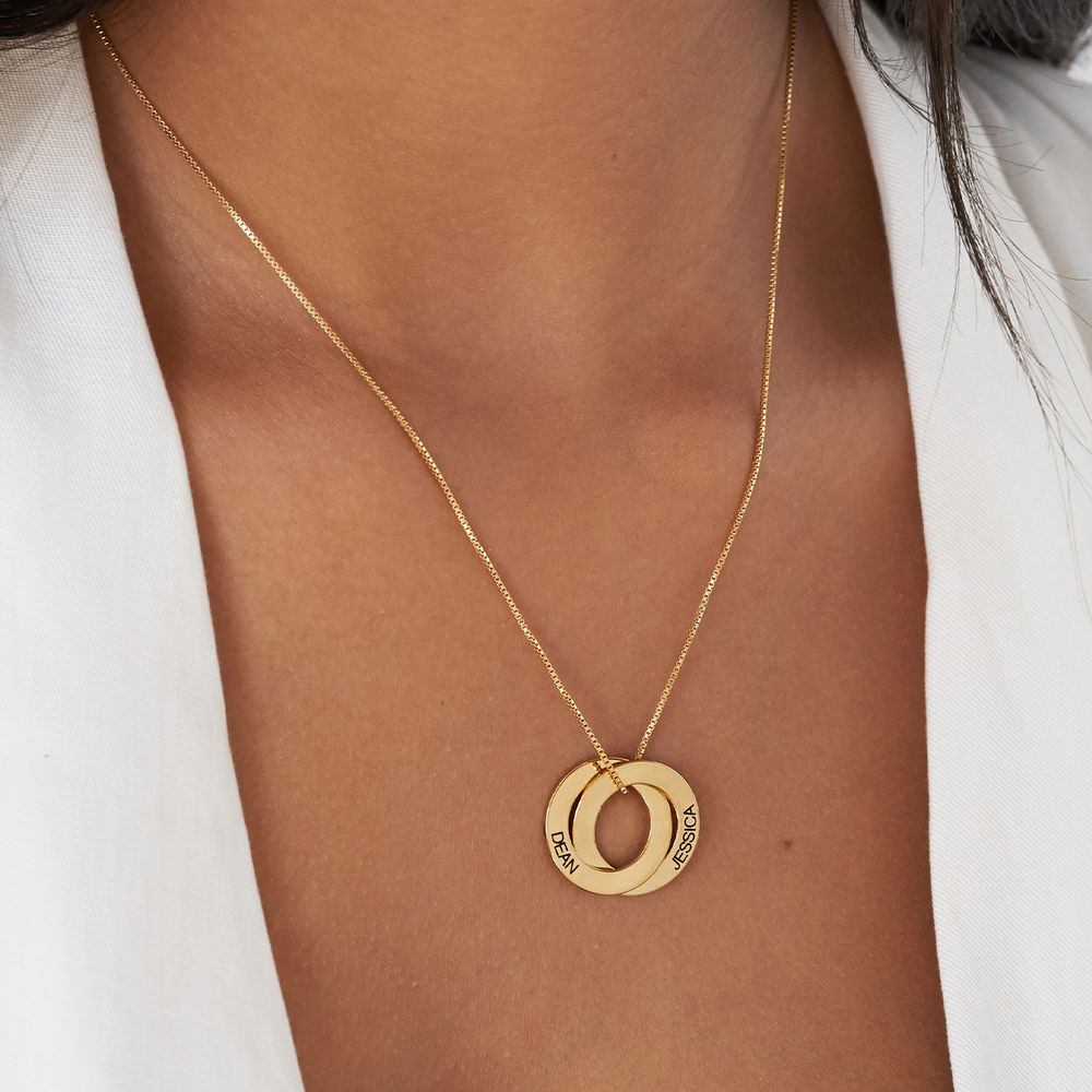 Russisk ring-halskæde med to ringe i forgyldt sølv - 4