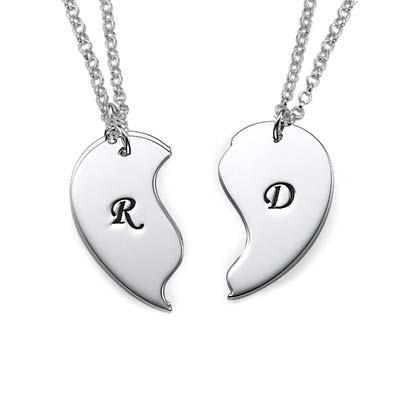 Veninde halskæde med bogstaver og to kæder i sølv - 1