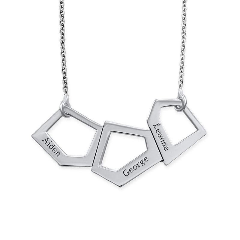 Geometrisk halskæde til mødremedindgravering i sølv