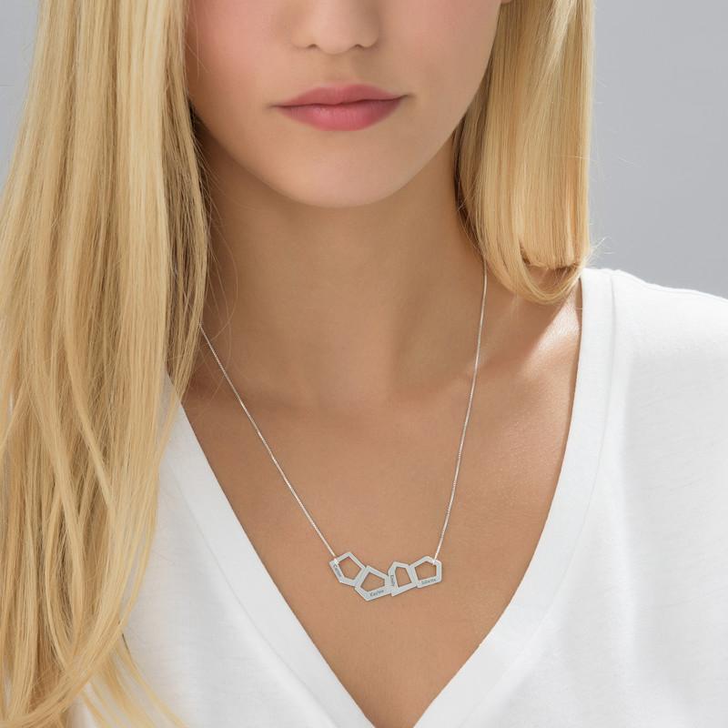 Geometrisk halskæde til mødremedindgravering i sølv - 2