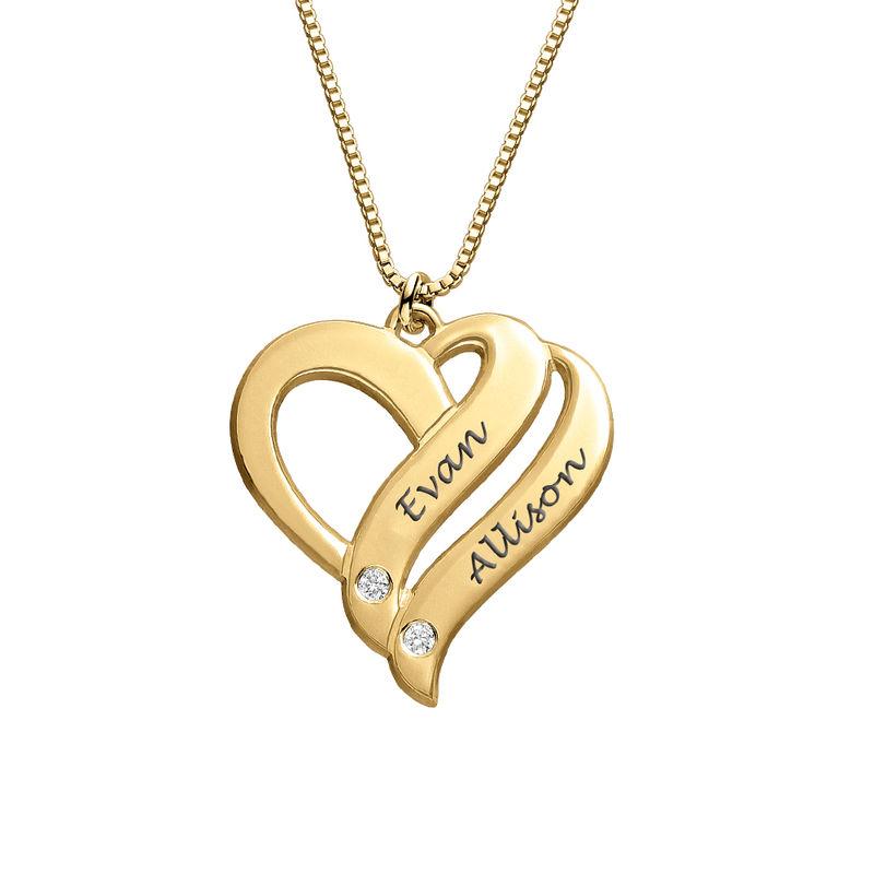 To hjerter banker som et-halskæde med diamanter i guld vermeil