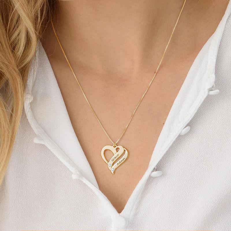 To hjerter banker som et-halskæde med diamanter i guld vermeil - 2