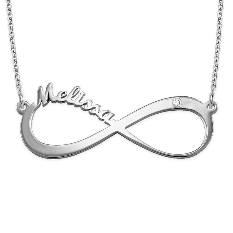 Infinity diamant navnehalskæde i Sterling sølv - 1