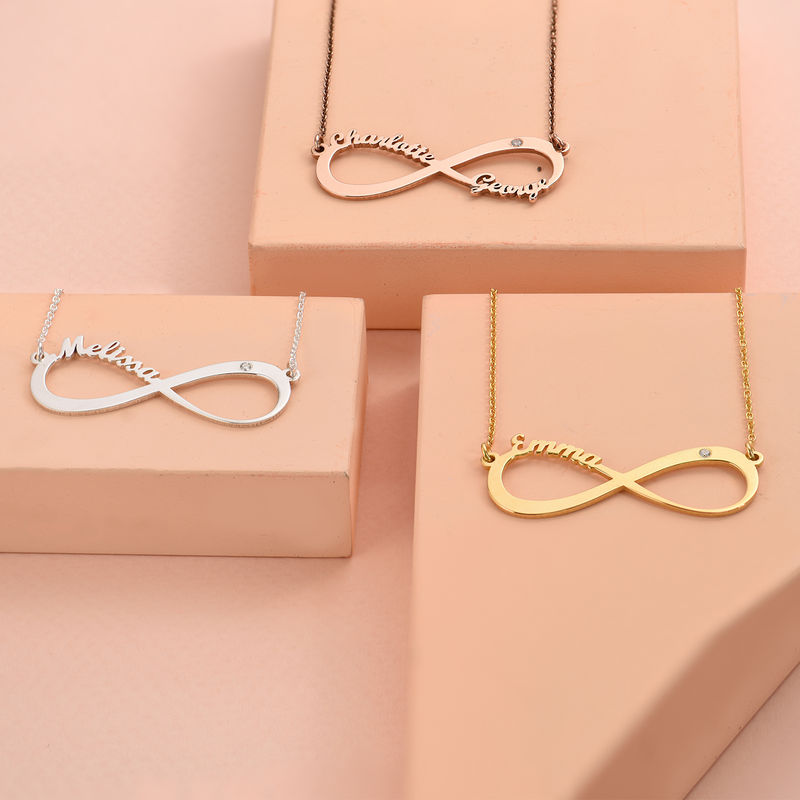 Rosaforgyldt infinity-navnehalskæde med diamant - 3