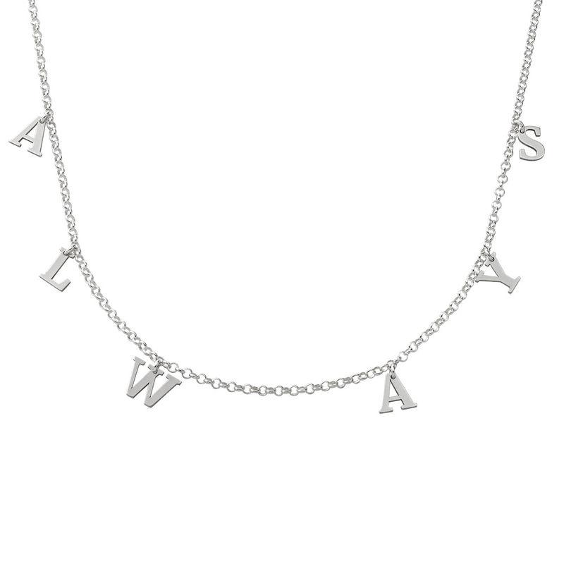 Choker halskæde med initialer i sølv - 1
