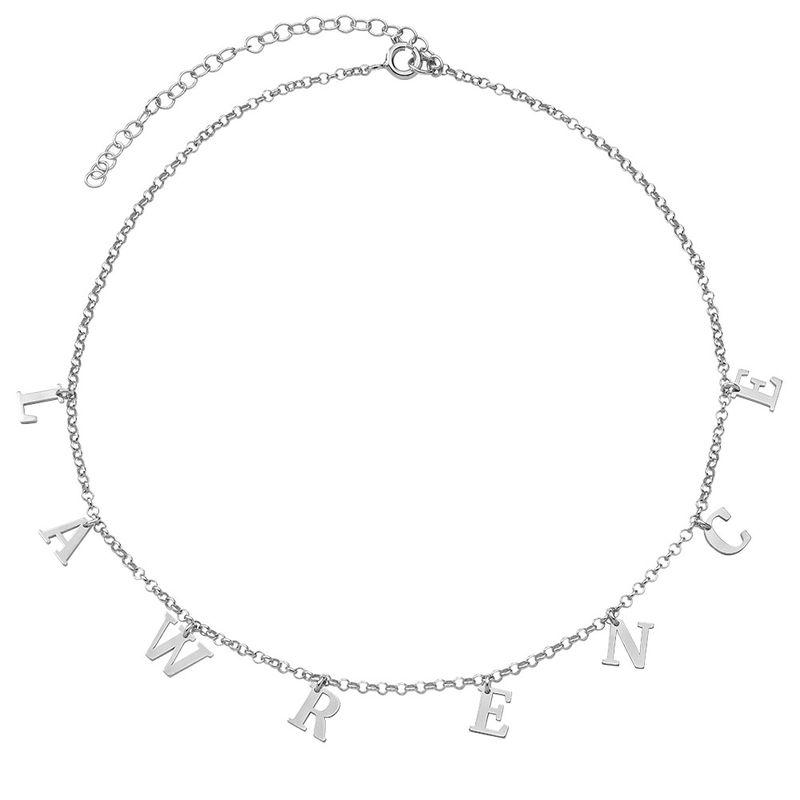 Choker halskæde med initialer i sølv - 2