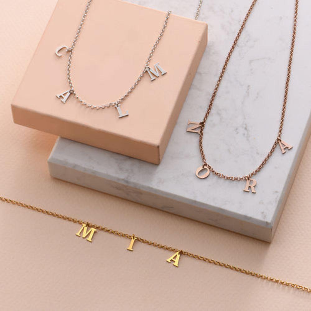 Choker halskæde med initialer i forgyldt sølv - 3