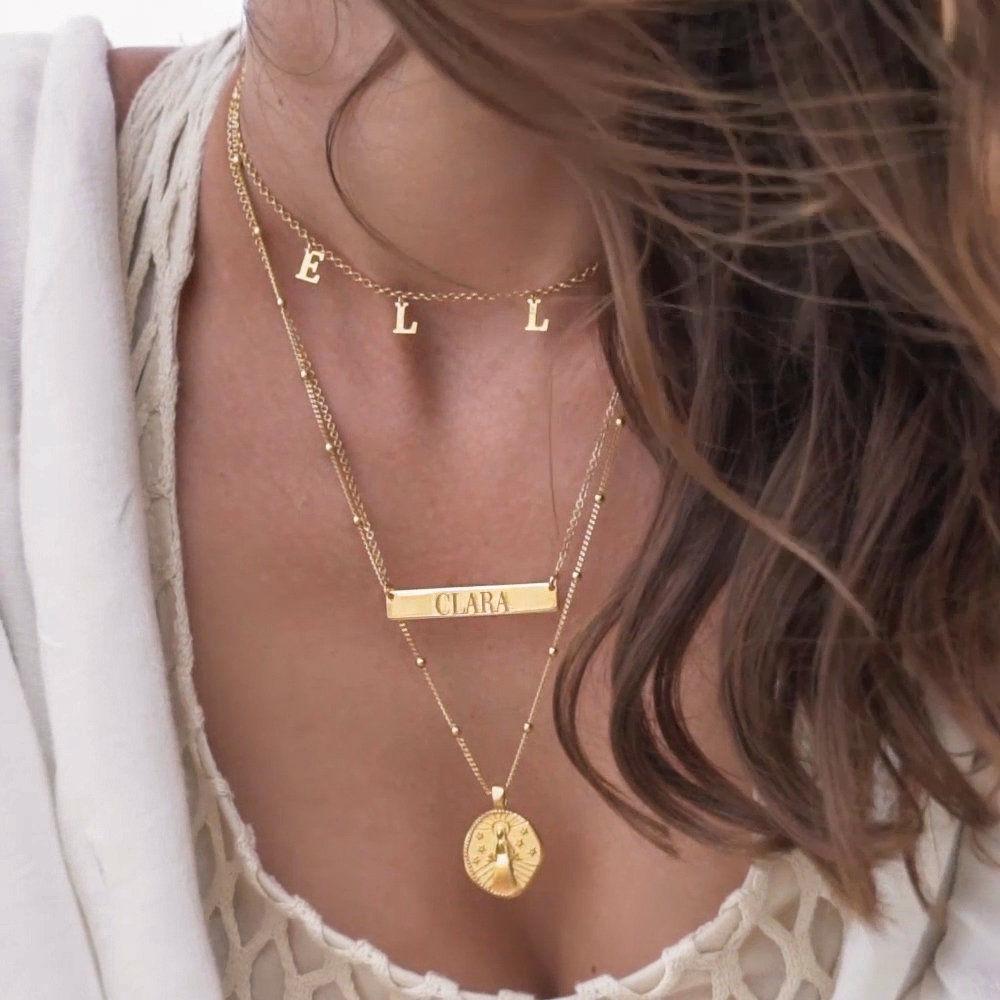 Choker halskæde med initialer i forgyldt sølv - 6