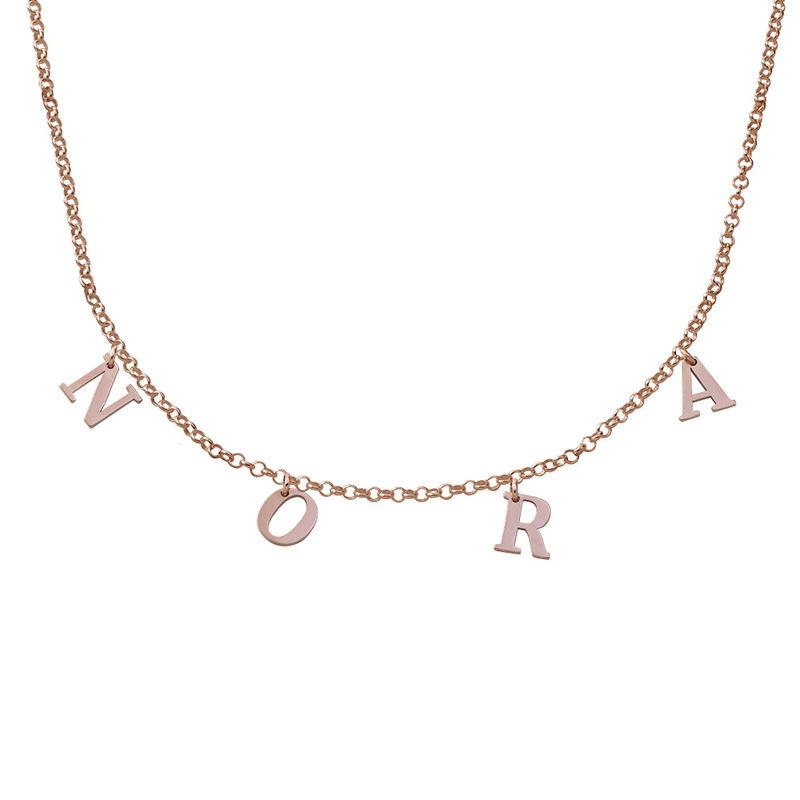 Choker halskæde med initialer i rosaforgyldt sølv