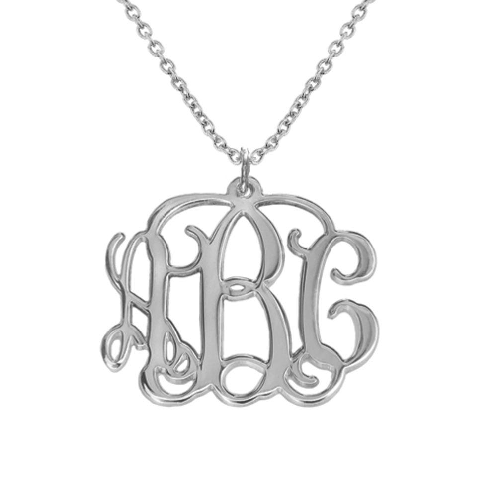 Monogram halskæde med initialer i sølv