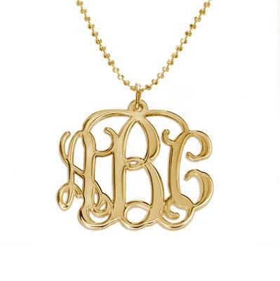 Monogram halskæde med initialer i forgyldt sølv