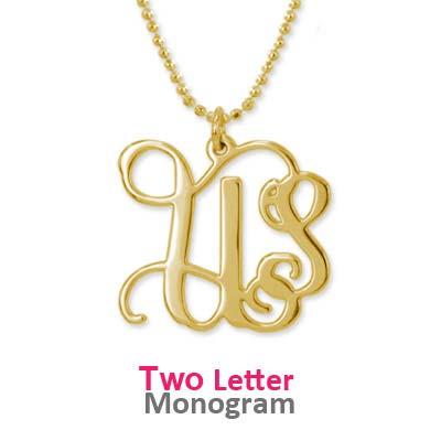 Monogram halskæde med initialer i forgyldt sølv - 2