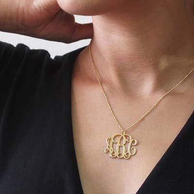 Monogram halskæde med initialer i forgyldt sølv - 3