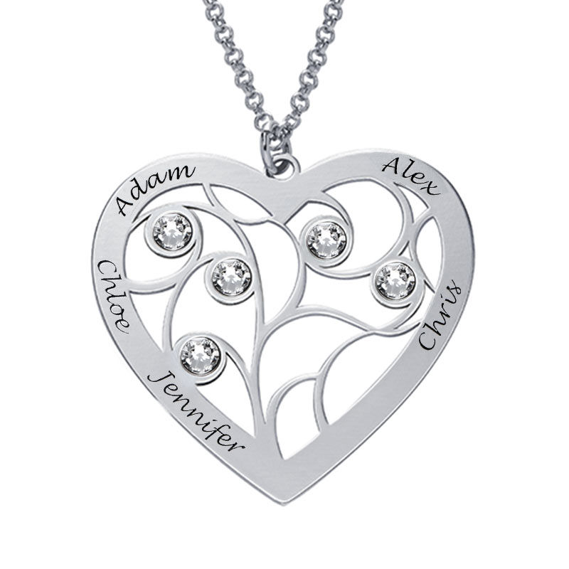 Hjerteformet livets træ halskæde med månedssten i sterlingsølv - 1