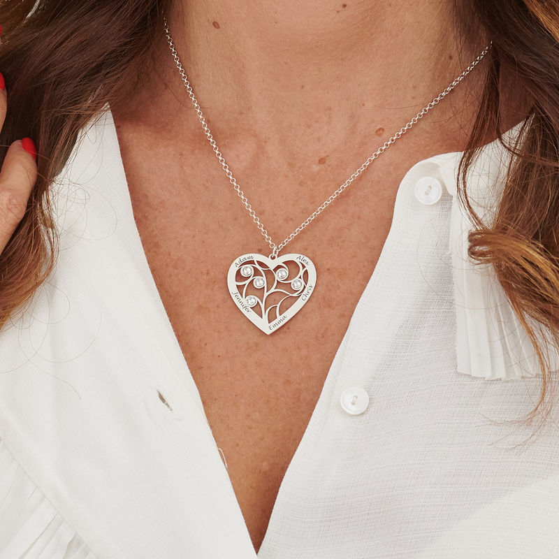Hjerteformet livets træ halskæde med månedssten i sterlingsølv - 5