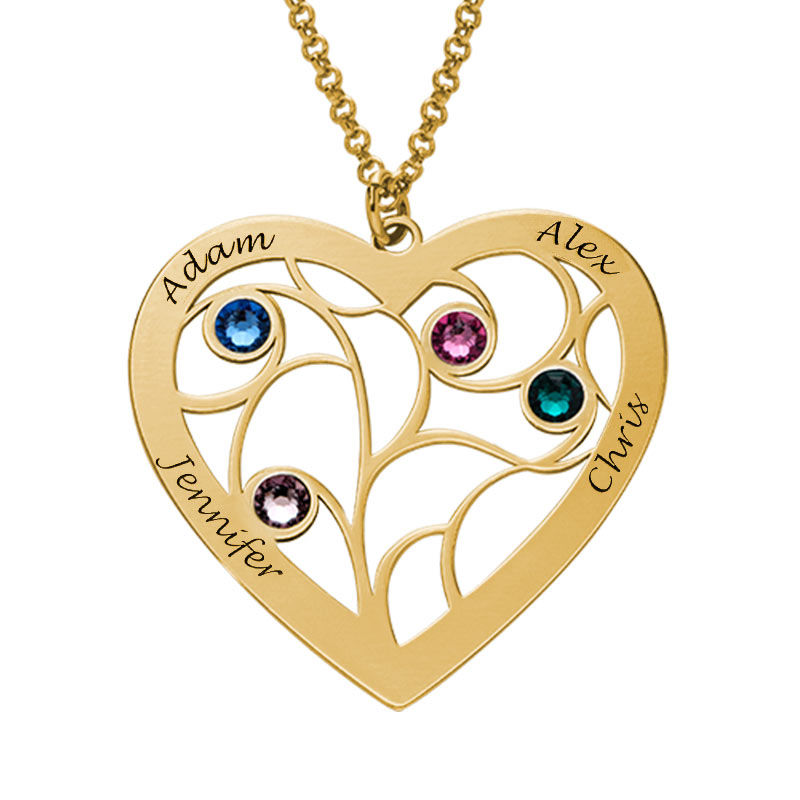 Forgyldt hjerteformet livets træ halskæde med månedssten - 2