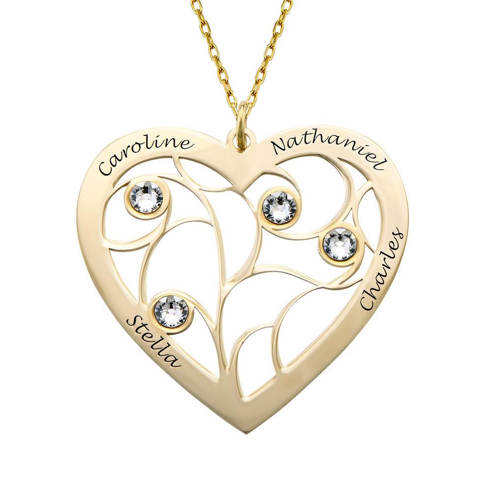 Hjerteformet livets træ halskæde med månedssten i 10 karat guld