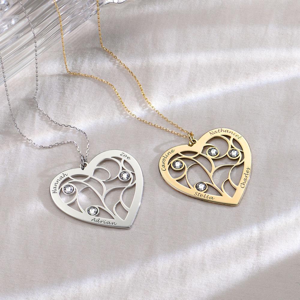 Hjerteformet livets træ halskæde med månedssten i 10 karat guld - 1