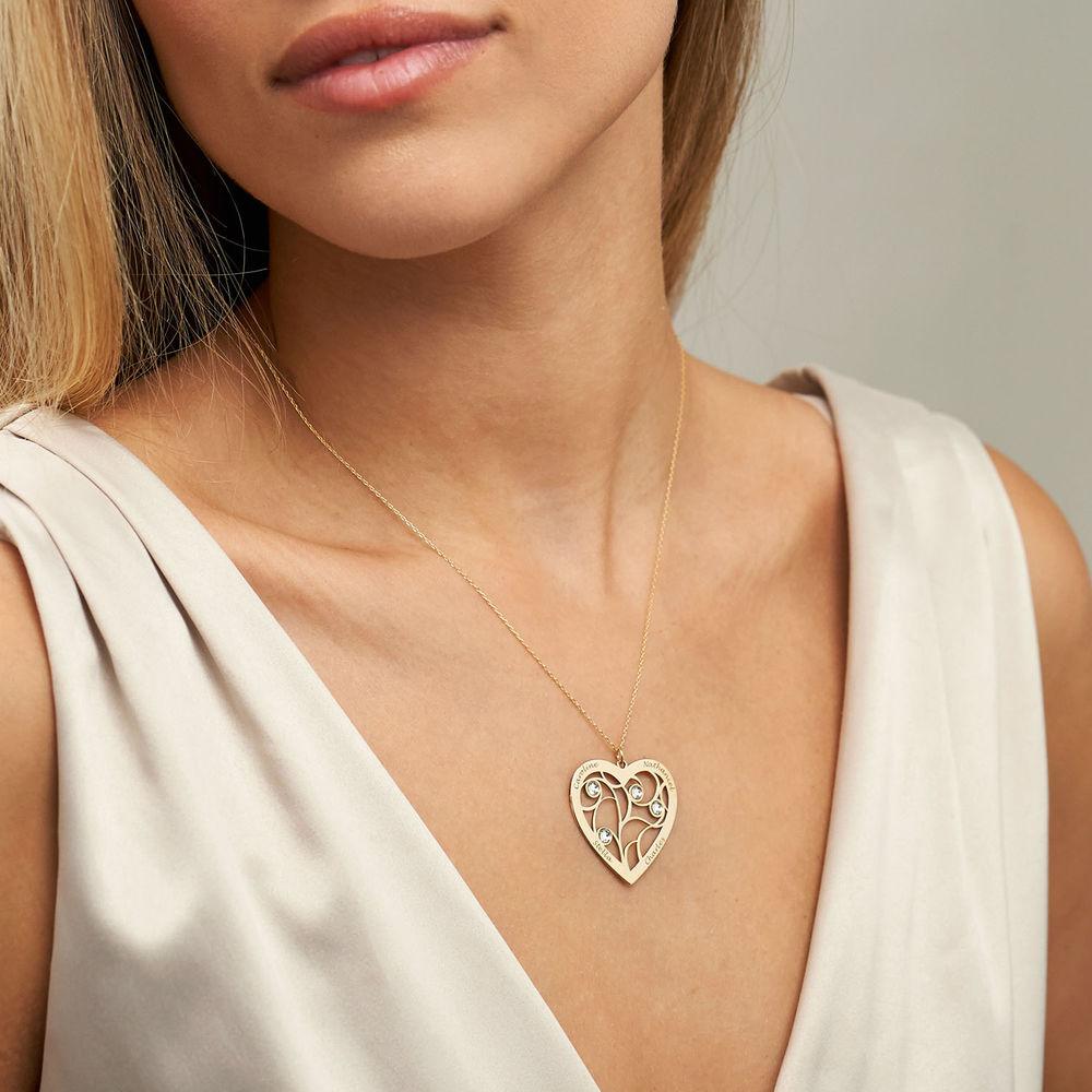 Hjerteformet livets træ halskæde med månedssten i 10 karat guld - 2