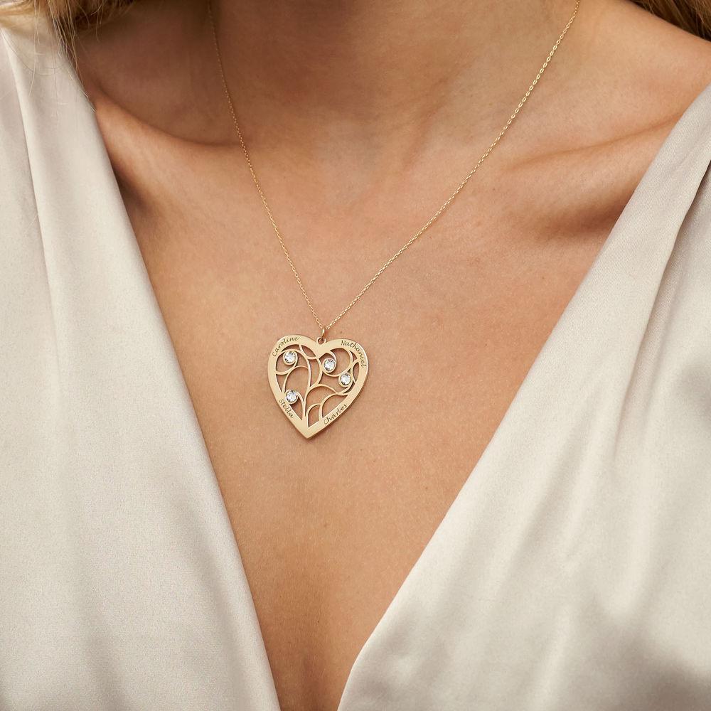 Hjerteformet livets træ halskæde med månedssten i 10 karat guld - 3