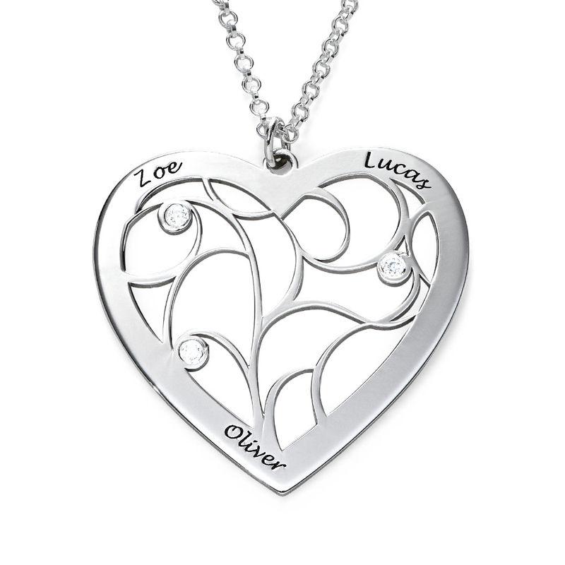 Hjerteformet livets træ halskæde med diamanter i sterlingsølv