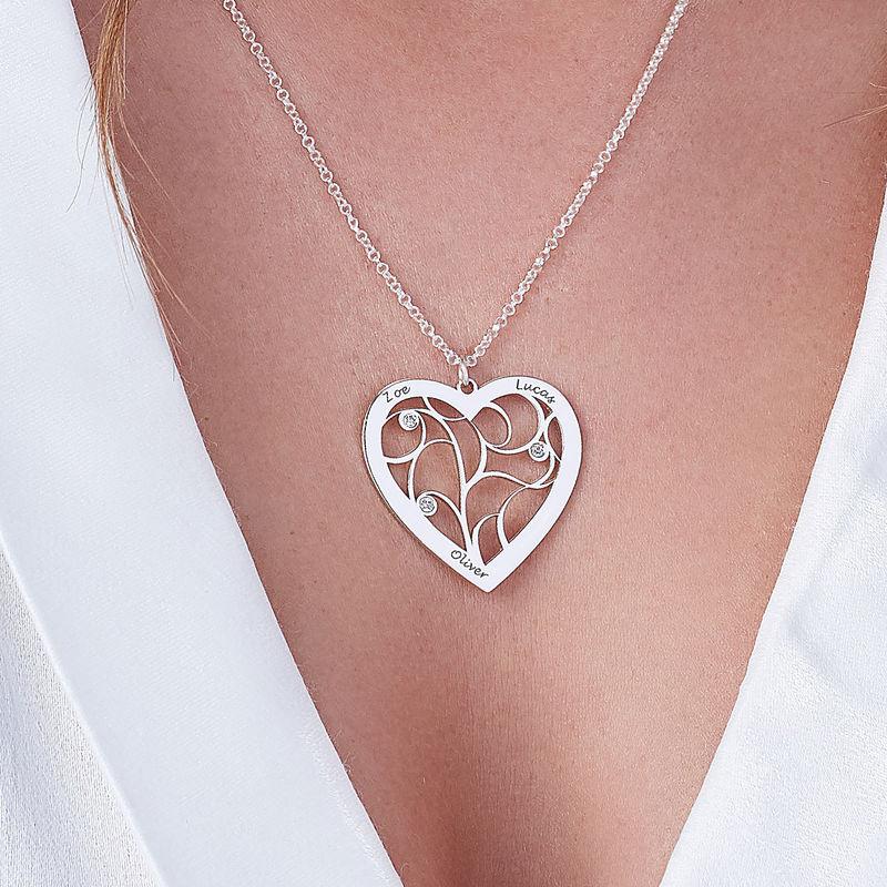 Hjerteformet livets træ halskæde med diamanter i sterlingsølv - 2
