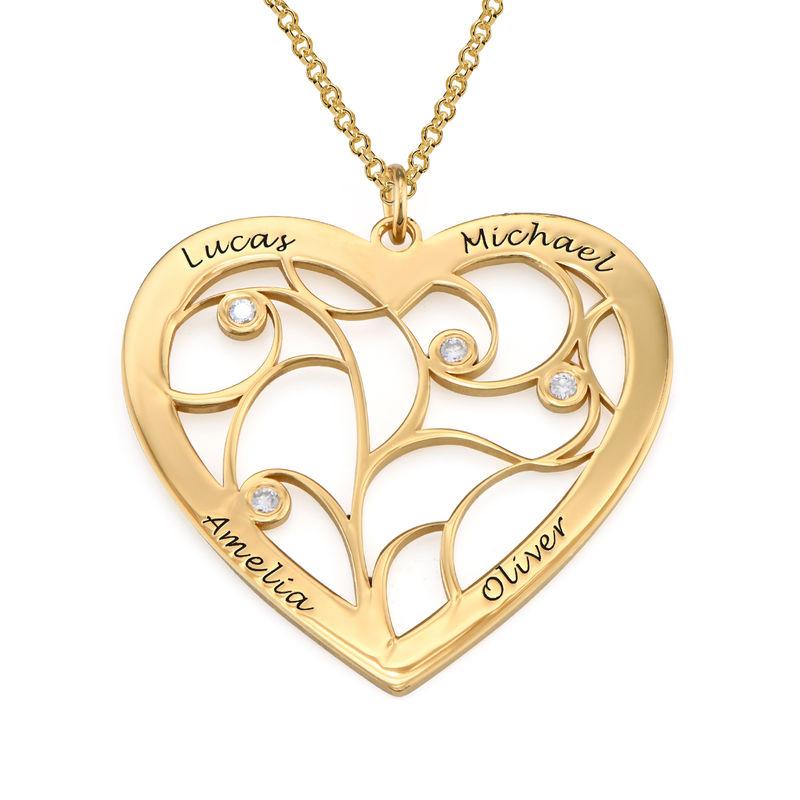 Hjerteformet livets træ halskæde med diamanter - forgyldt