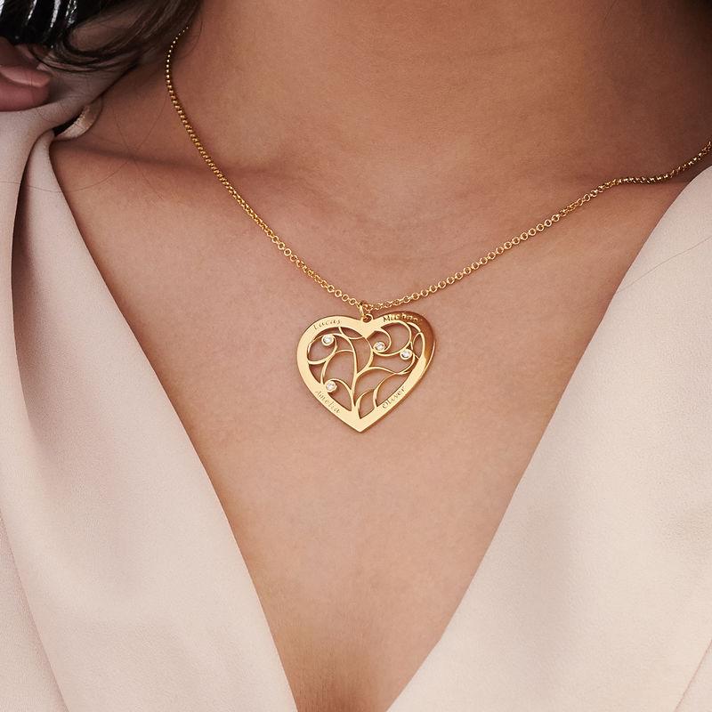 Hjerteformet livets træ halskæde med diamanter - forgyldt - 2