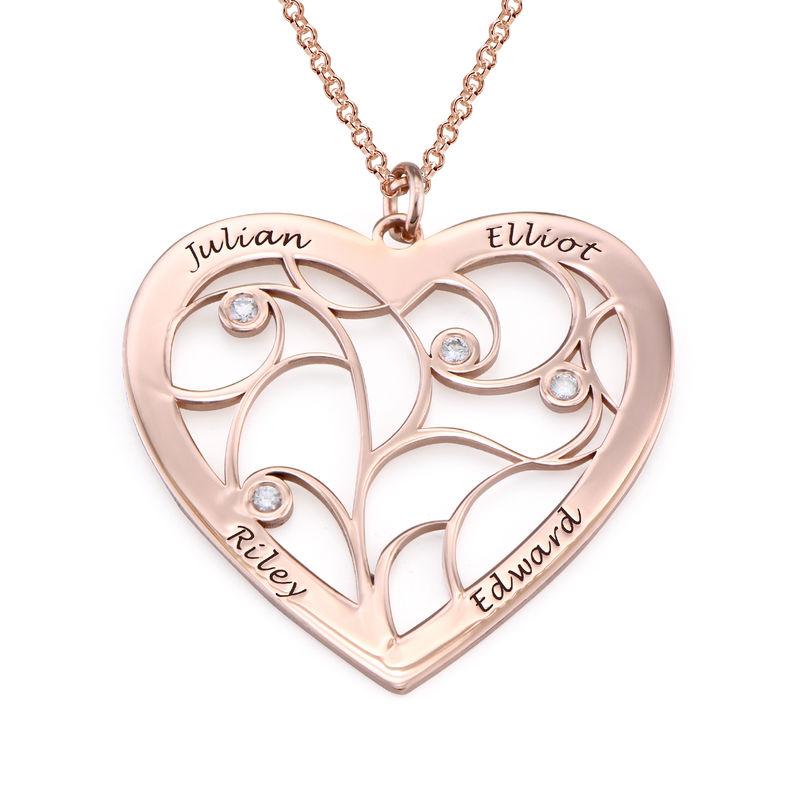 Hjerteformet livets træ halskæde med diamanter i rosaforgyldt sølv