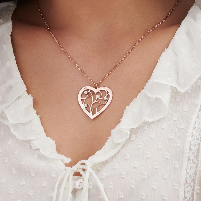 Hjerteformet livets træ halskæde med diamanter i rosaforgyldt sølv - 2