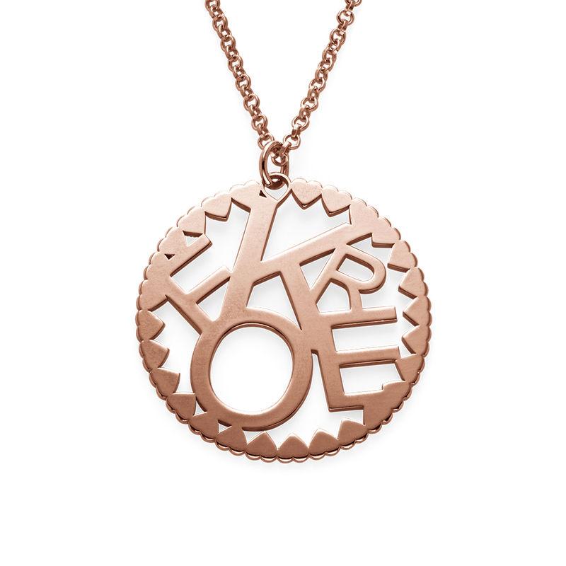 Cirkelformet halskæde med bogstaver i rosaforgyldt sølv