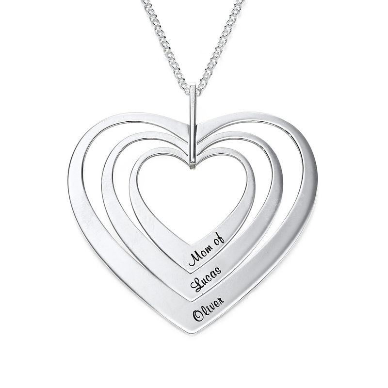 Hjerteformet familiehalskæde med navne i sølv - 1